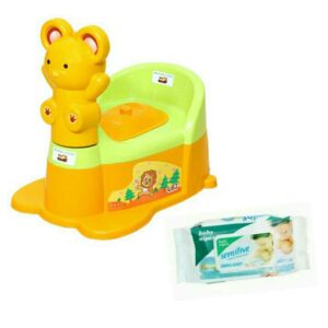 Harry & Honey Baby Potty Seat A+B 1810 Green-Orange With Wipes