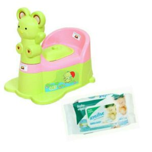 Harry & Honey Baby Potty Seat A+B 1810 Green-Pink With Wipes