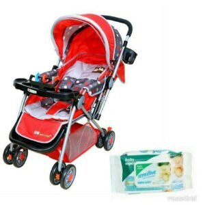 HARRY & HONEY BABY STROLLER HH8806 A RED WITH WIPES