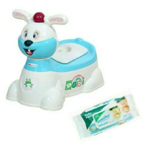 Harry & Honey Baby Potty Seat Hh 1871 White-Sky Blue With Wipes