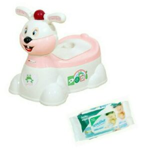 Harry & Honey Baby Potty Seat Hh 1871 White-Peach With Wipes
