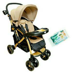 Harry & Honey Satin Finish Baby Stroller Brown With Wipes