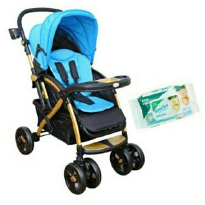 Harry & Honey Satin Finish Baby Stroller Blue With Wipes