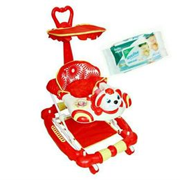 Harry & Honey Bunny Design Baby Musical Walker Cum Rocker Red With Wipes