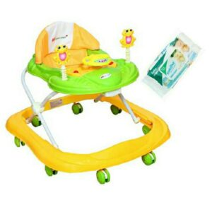 Harry & Honey Baby Musical Walker Yellow- Green With Wipes
