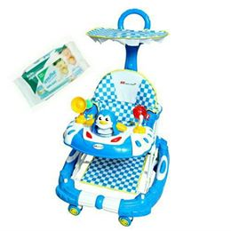 Harry & Honey Baby Musical Walker Cum Rocker Blue With Wipes
