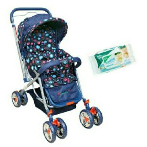 Harry & Honey Eccentric Print Baby Stroller Navy Blue With Wipes