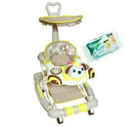 Harry & Honey Bunny Design Baby Musical Walker Cum Rocker Beige With Wipes