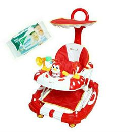 Baby Musical Walker Cum Rocker Red With Wipes