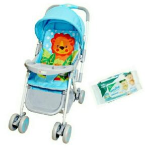 Harry & Honey Lion Print Baby Pram Blue With Wipes