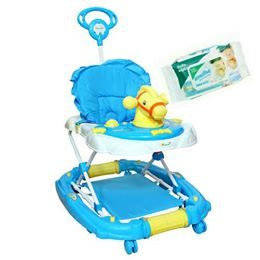 Harry & Honey Horse Face Baby Musical Walker Cum Rocker Blue With Wipes