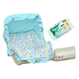 Harry & Honey Mad Angles Baby Carry Cot Cum Rocker-Sky Blue With Wipes