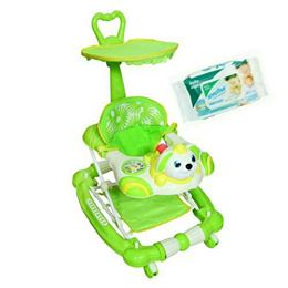 Harry & Honey Bunny Design Baby Musical Walker Cum Rocker Green With Wipes