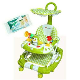 Harry & Honey Baby Musical Walker Cum Rocker Green With Wipes