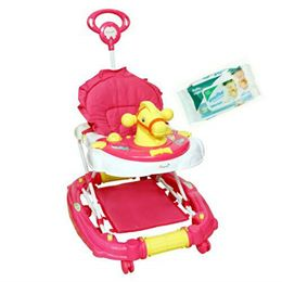 Harry & Honey Horse Face Baby Musical Walker Cum Rocker Pink With Wipes