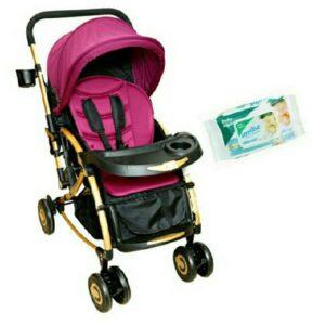 Satin Finish Baby Stroller Cum Rocker Purple With Wipes