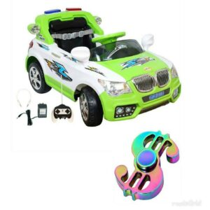 Wheel Power Battery Operated Ride On Car 20x8 Green-White With Fidget