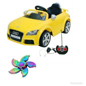 Wheel Power Baby Battery Operated Ride On Car Audi 676 AR Yellow With Fidget