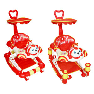 352 AB Harry & Honey Bunny Design Baby Musical Walker Cum Rocker Red With Wipes