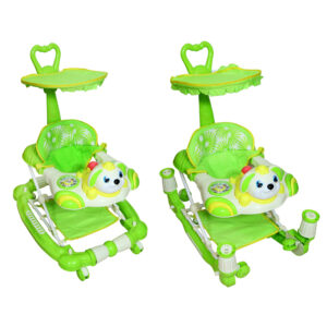 WALKER 352-AB Harry & Honey Bunny Design Baby Musical Walker Cum Rocker Green With Wipes