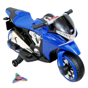 Wheel Power Baby Battery Operated Ride On Sports Bike Blue With Fidget