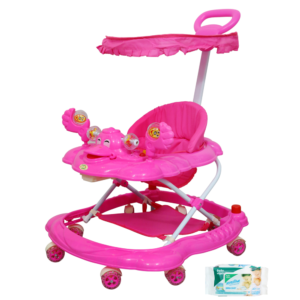 Harry & Honey Mini Steps Baby Musical Walker Pink With Wipes