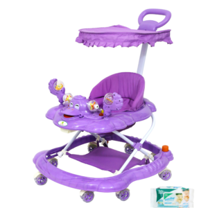 Harry & Honey Mini Steps Baby Musical Walker Purple With Wipes