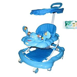 Harry & Honey Mini Steps Baby Musical Walker Blue With Wipes
